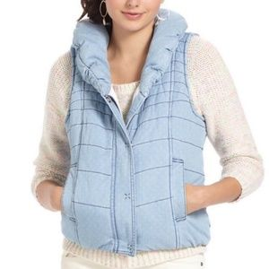 Anthropologie Chambray Pin Dot Puffer Vest